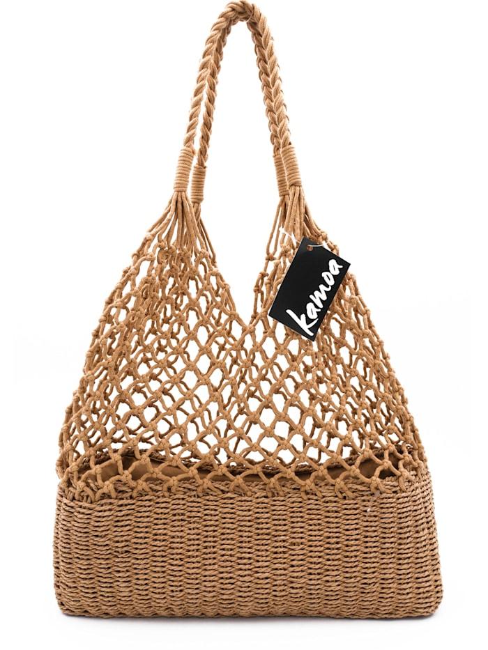 kamoa - Trendige leichte und stabile Netztasche aus Naturmaterialen  BRAUN