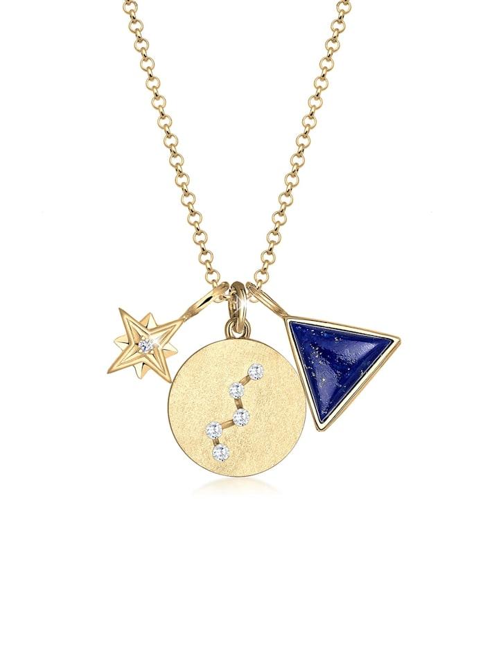 elli - Halskette Stern Lapis Lazuli Zirkonia Cassiopeia 925 Silber  Gold