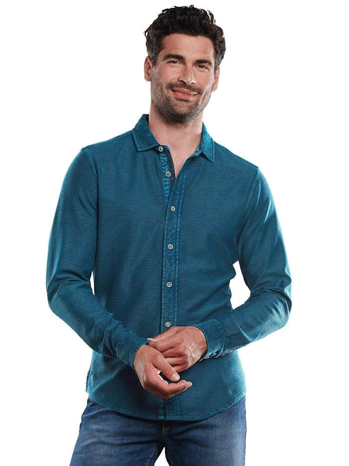 engbers - Polo-Shirt mit feiner Struktur  Cyanblau