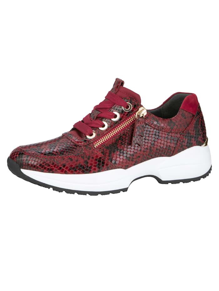 Verwisselbaar voetbed. platte hak van 4,5 cm. gladde zool. de sneaker heeft veters. de schoenmaat wordt ...