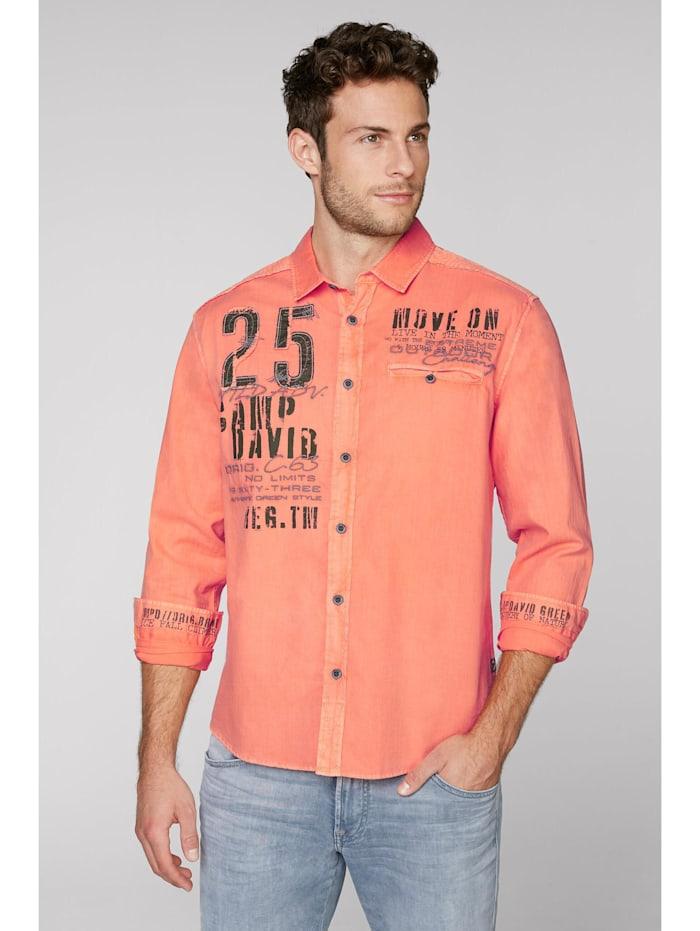 camp david - Hemd mit Webstreifen und Label-Applikationen  winter orange