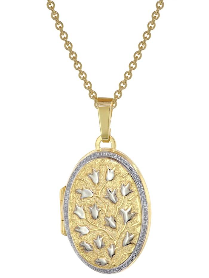 trendor - Medaillon 333 Gold (8 Karat) + vergoldete Silber-Halskette  Multicolor