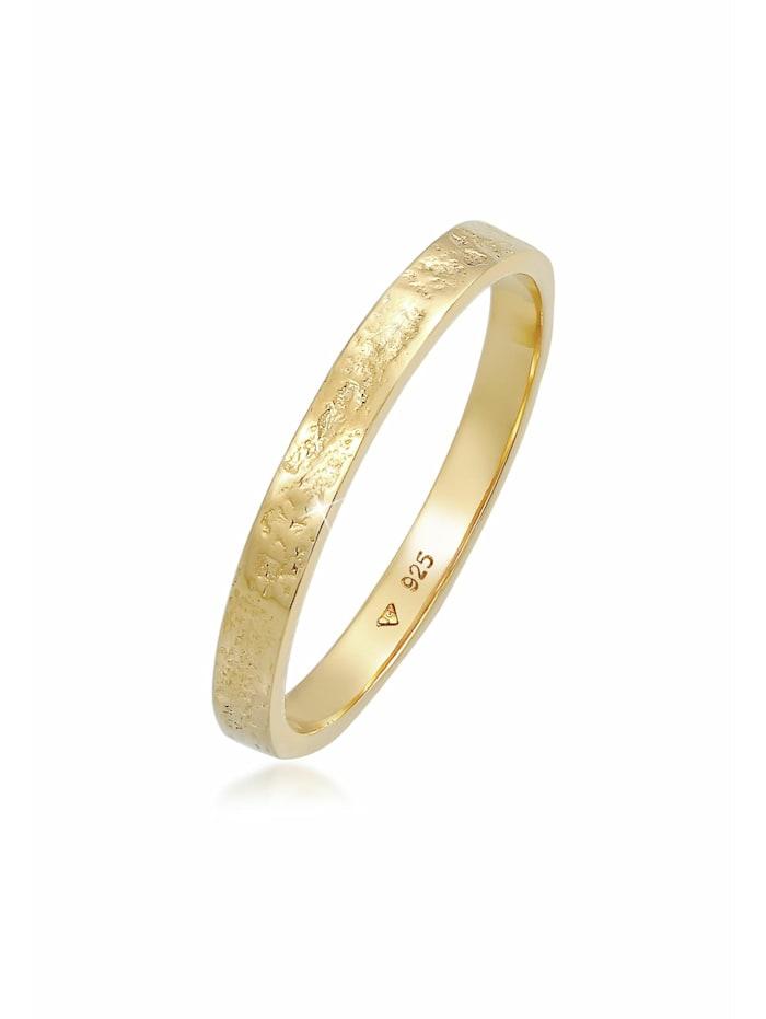elli - Ring Bandring Partnerring Basic Organic Look 925 Silber  Gold