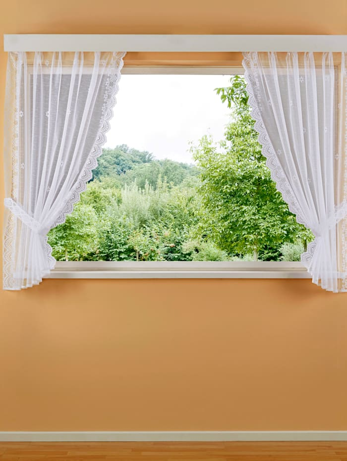 Jacquardvitrage met plooiband Home Wohnideen wit