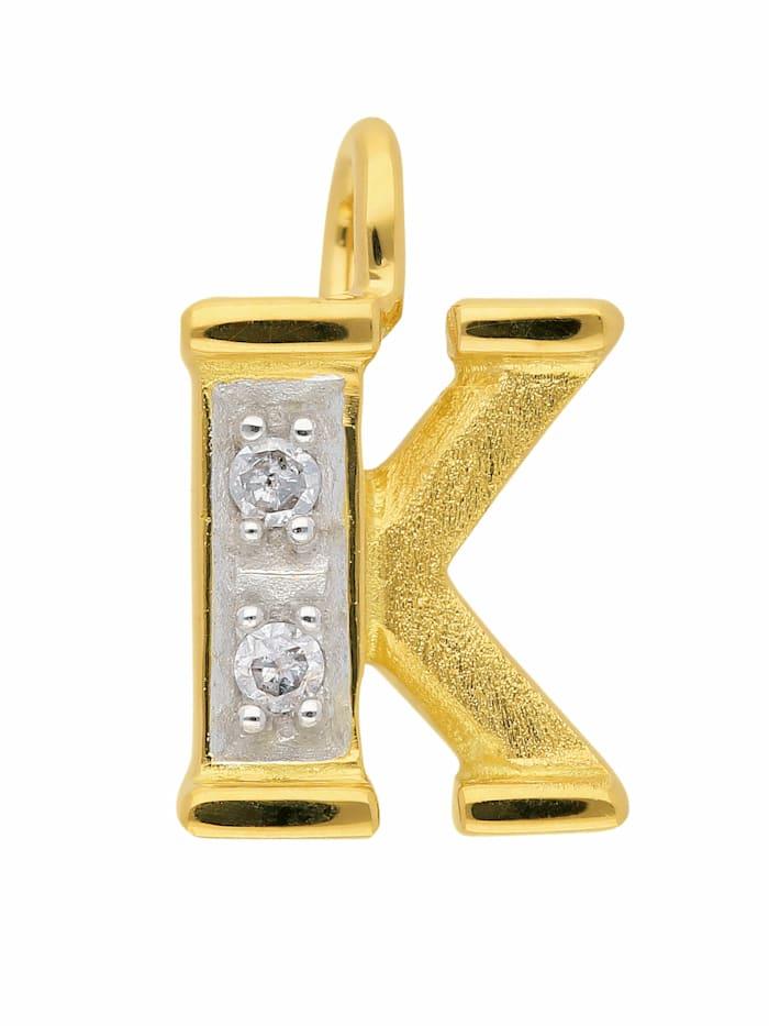1001 diamonds -  Damen & Herren Goldschmuck 585 Gold Buchstabenanhänger mit Diamant  gold