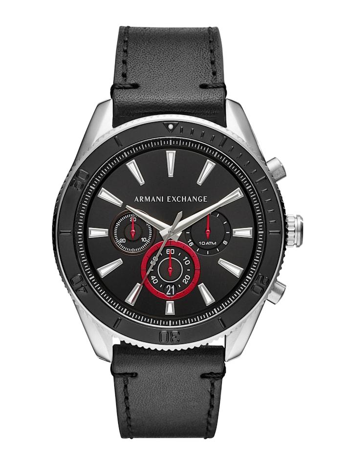 Artikel klicken und genauer betrachten! - Ein idealer Weggefährte ist dieser Chronograph von Armani Exchange wird Ihrem Handgelenk sicher schmeicheln. Ein überzeugender Allrounder ist dieser Chronograph denn er verfügt über eine Mittelsekunde, eine Datumsanzeige, eine Sekunde und eine 24-Stundenanzeige. Hat ein schwarzes Bund-Armband aus Leder mit Dornschließe. Das runde, silberfarbene Gehäuse dieser edlen Uhr wurde aus Edelstahl hergestellt und hat einen Durchmesser von 46 mm. | im Online Shop kaufen