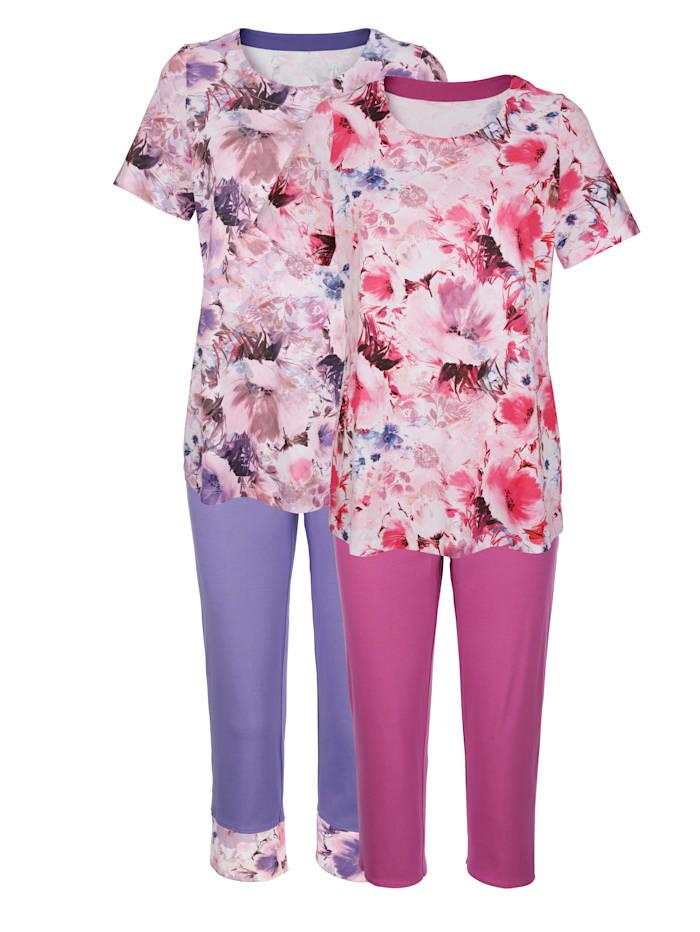 Schlafanzüge Harmony ecru fuchsia lila