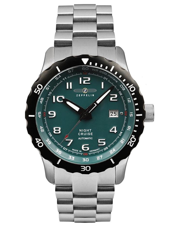 """Artikel klicken und genauer betrachten! - Armbanduhr aus der Serie """"Night Cruise"""", Made in Germany, mechanisches Automatik-Uhrwerk Kaliber 9015, 24 Steine, Datumsanzeige, grünes Zifferblatt, lumineszierende Zeiger und Zahlen, zentraler Sekundenzeiger, mattiertes Edelstahl-Gehäuse, verschraubter Glas-Gehäuseboden mit Sicht auf das Uhrwerk, einseitig drehbare schwarz PVD-beschichtete Lünette mit Minutenskala, verschraubte Krone, Saphirglas, Armband aus mattiertem Edelstahl, Siche   im Online Shop kaufen"""