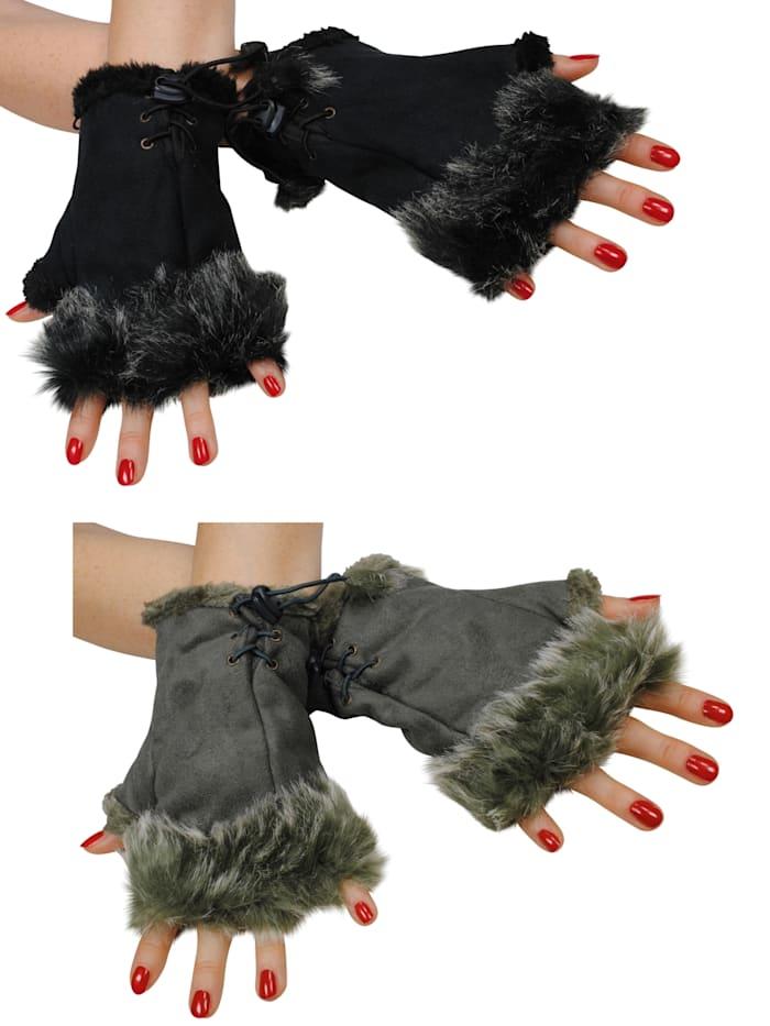 simone erto - Stulpen 2 Paar Hand-Stulpen 2 Paar kuschelige Handstulpen in Wildleder-Optik  schwarz/khaki
