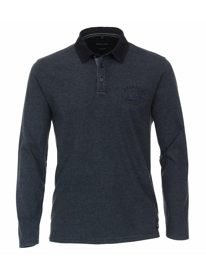 casamoda - Polo-Shirt Langarm gestreift  Blau