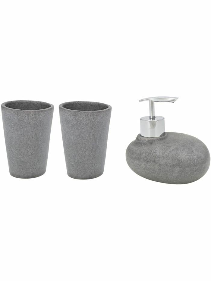 Image of Bad-Accessoire-Set Pebble Stone Grey, 3-teilig Wenko Grau