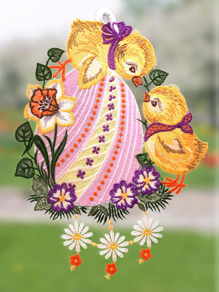Raamdecoratie Twee kuikens Stickereien & Textilien multicolor