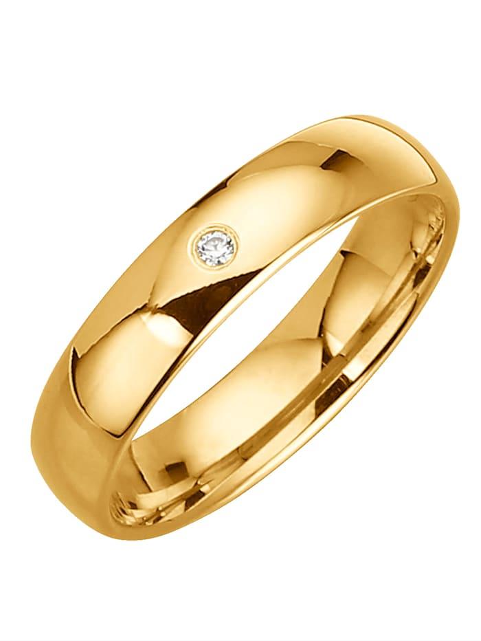 Trouwring metdiamant Harmony Geel