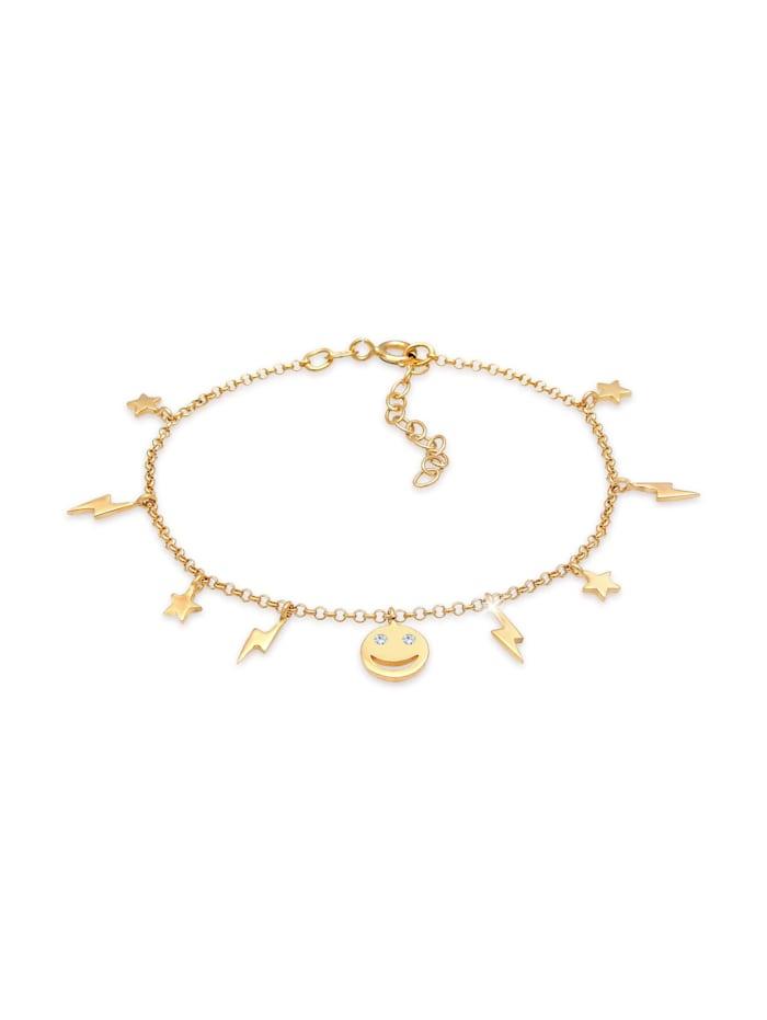 elli - Armband Stern Blitz Smiley Kristalle Boho 925 Silber  Gold