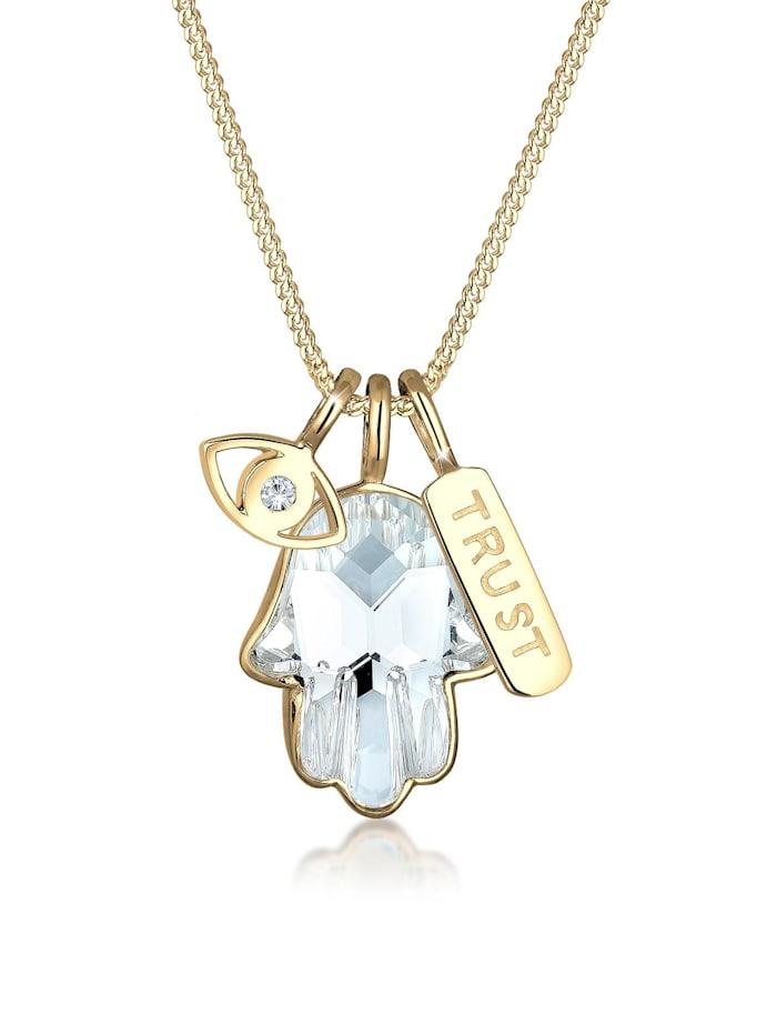 Elli Halskette Hamsa Evil Eye Swarovski® Kristalle 925 Silber Elli Gold