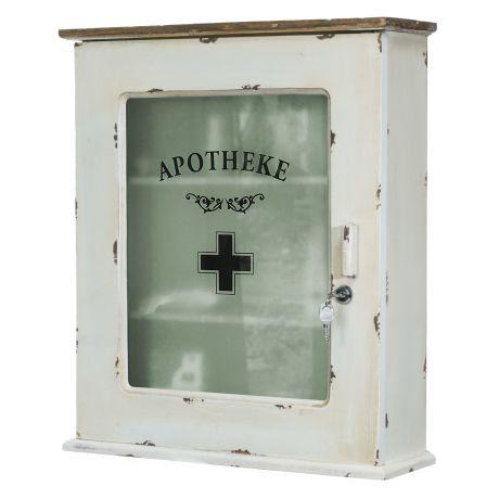 Medizinschrank, abschließbar, Shabby Chic, Holz, ca. B47 x T15 x H55 cm