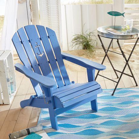 Gartenstuhl Anker, Adirondack Chair Klappbar, Maritimer Look, Holz  Vorderansicht