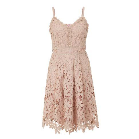 Kleid, Spitze, Häkelkante, leicht tailliert, Romantik-Look Vorderansicht