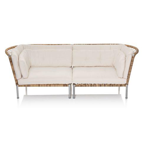 Outdoor-Sofa, zwei Sitzkissen, vier Rückenkissen, modern, Stahl, Kunststoffgeflecht, Polyester Vorderansicht