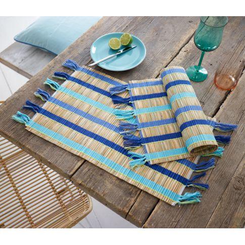 Platzmatten-Set, 2-tlg. Blue Bamboo, Bambus, Baumwolle, Jeweils ca. L48 x B32 cm Katalogbild