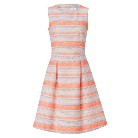 Kleid, Neon, Streifen, tailliert, Retro-Look Vorderansicht