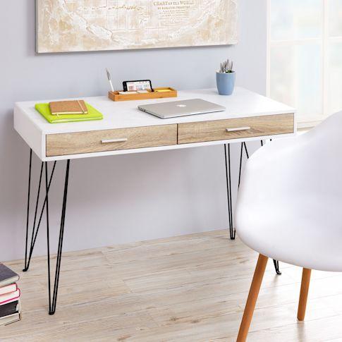 Schreibtisch Stockholm, zwei Schubladen, skandinavisch Vorderansicht