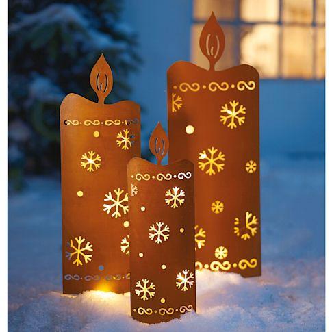 LED Gartenstecker Kerzen, 3-tlg, im Rostfinish, zum Stecken, incl. Lichterkette Katalogbild