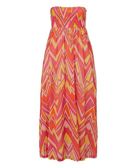 Kleid, Allover-Muster, Bandeau, ausgestellt, extravagant Vorderansicht