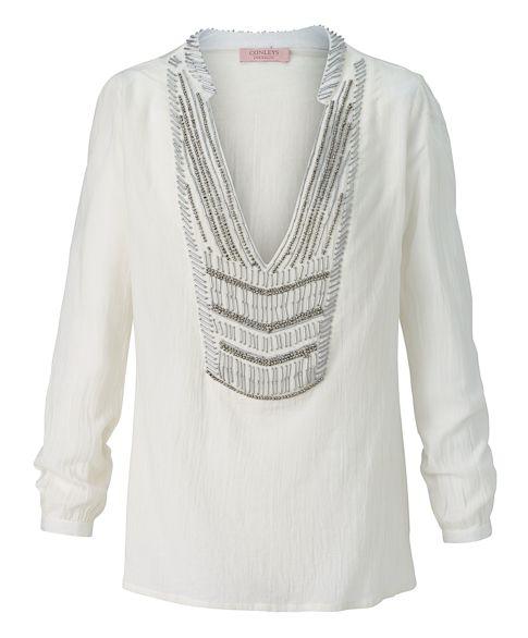 Tunika, V-Ausschnitt, Perlen, tailliert, Boho-Style Vorderansicht