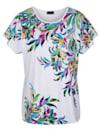Shirt im farbenfrohem Blätter-Druckdessin