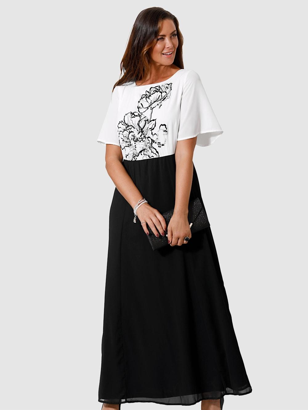 miamoda abendkleid mit floraler stickerei und pailletten besetzt | klingel