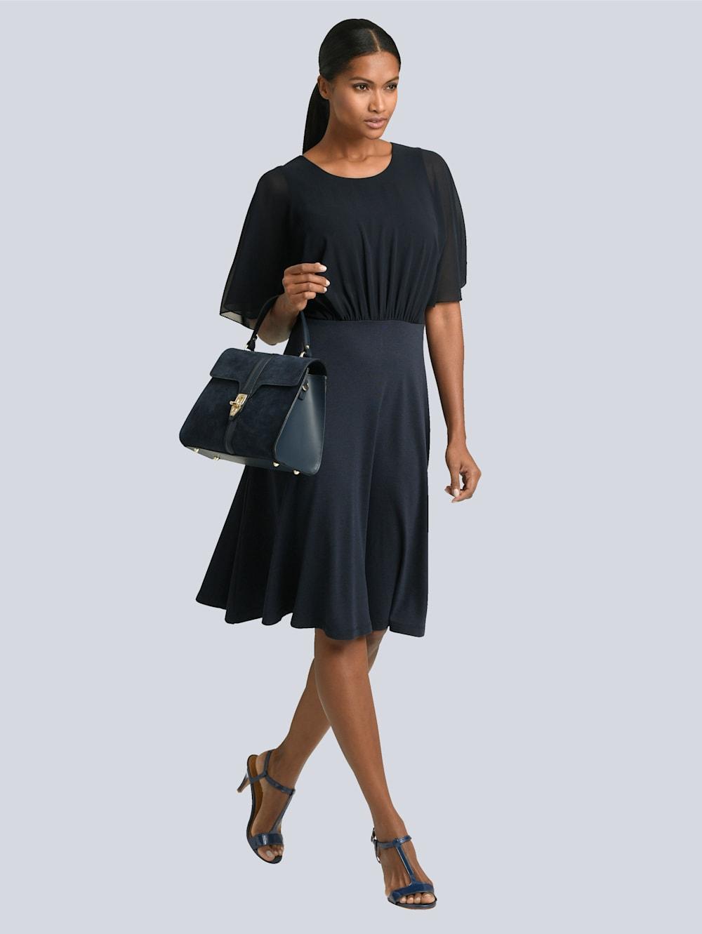 alba moda kleid mit eleganter oberer lage aus feinem chiffon   alba moda