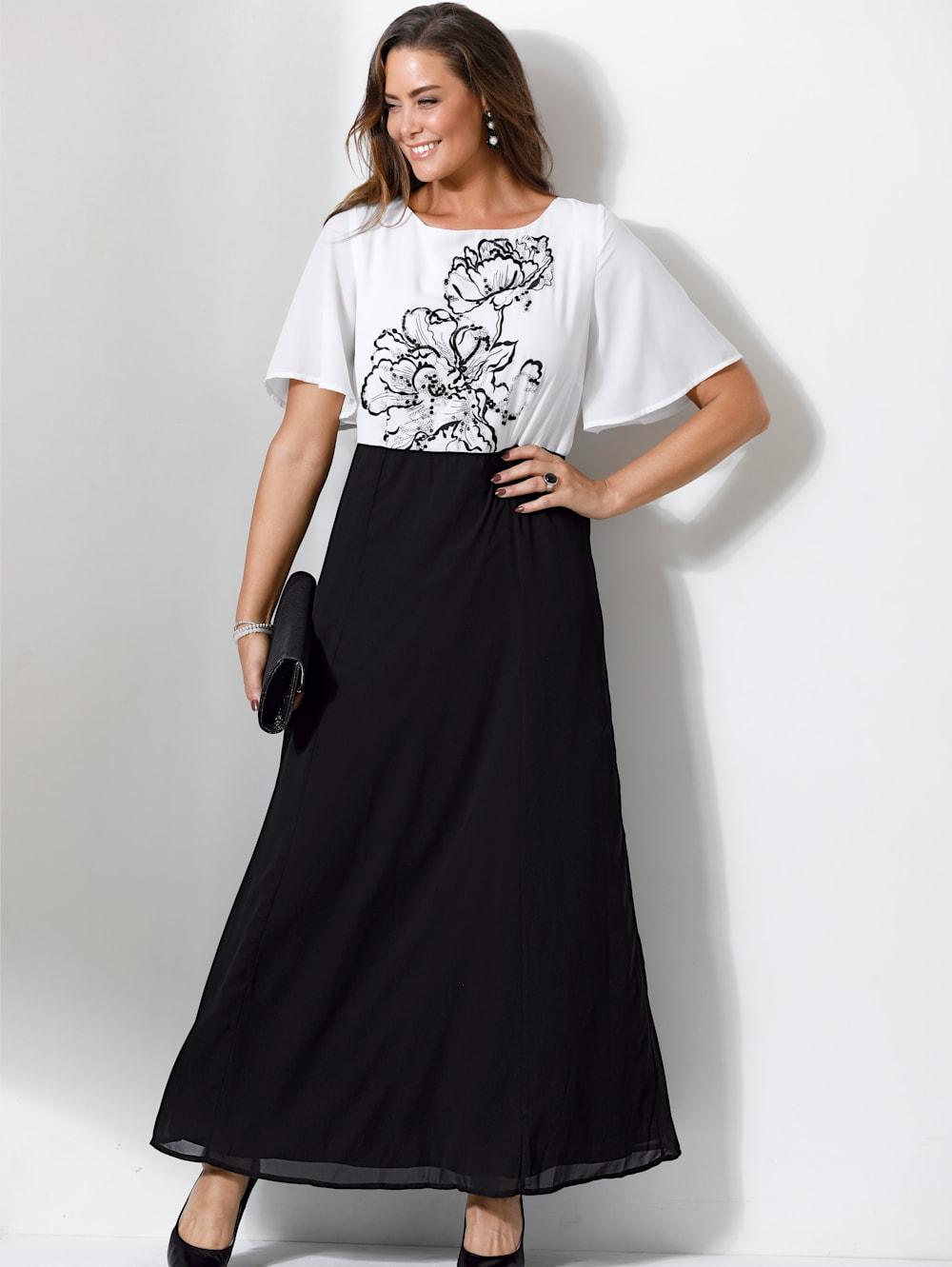 miamoda abendkleid mit floraler stickerei und pailletten besetzt | mia moda