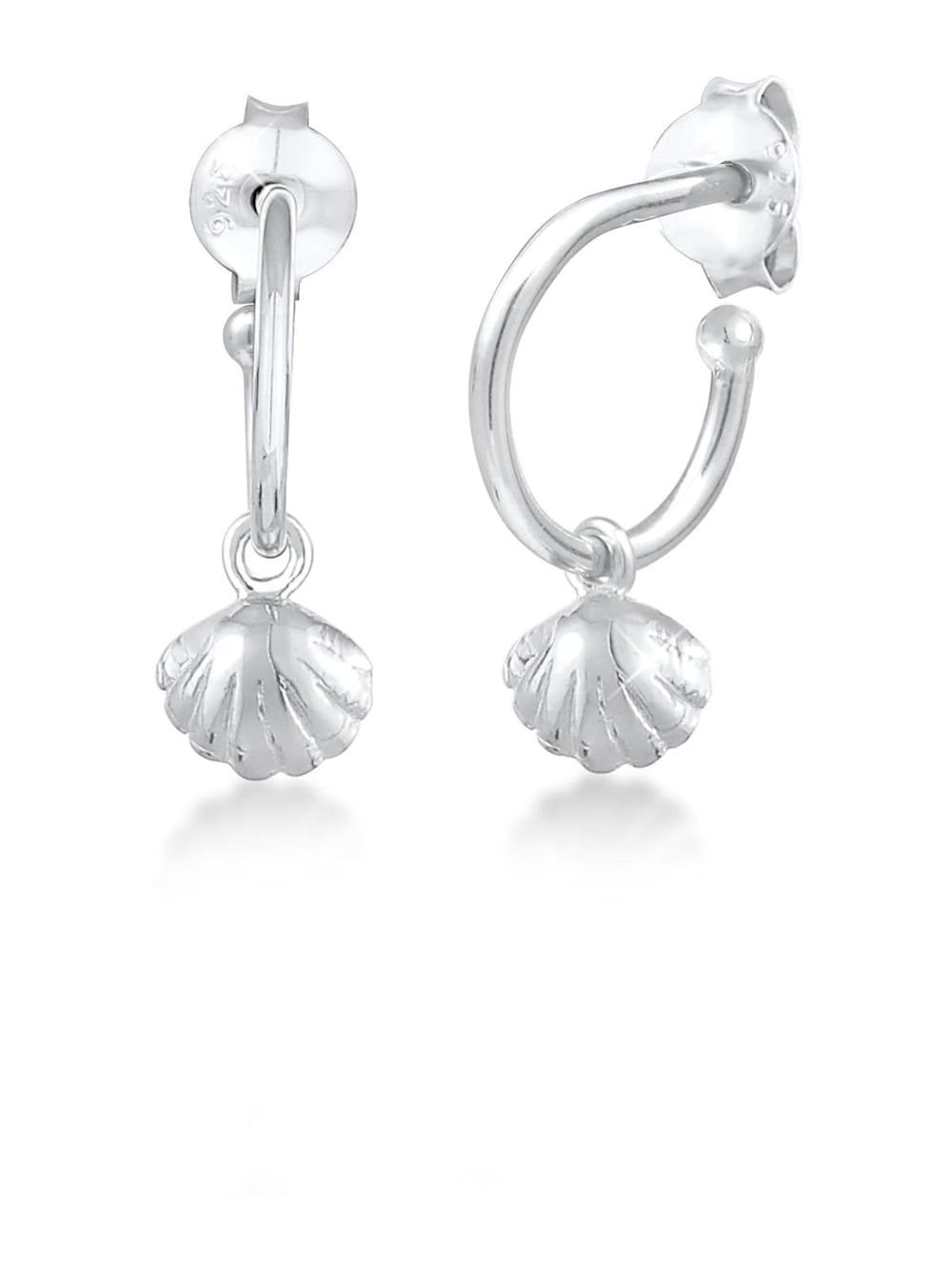 Elli Elli Ohrringe Creolen Herzmuschel Hänger Sommer Trend 925 Silber | Klingel