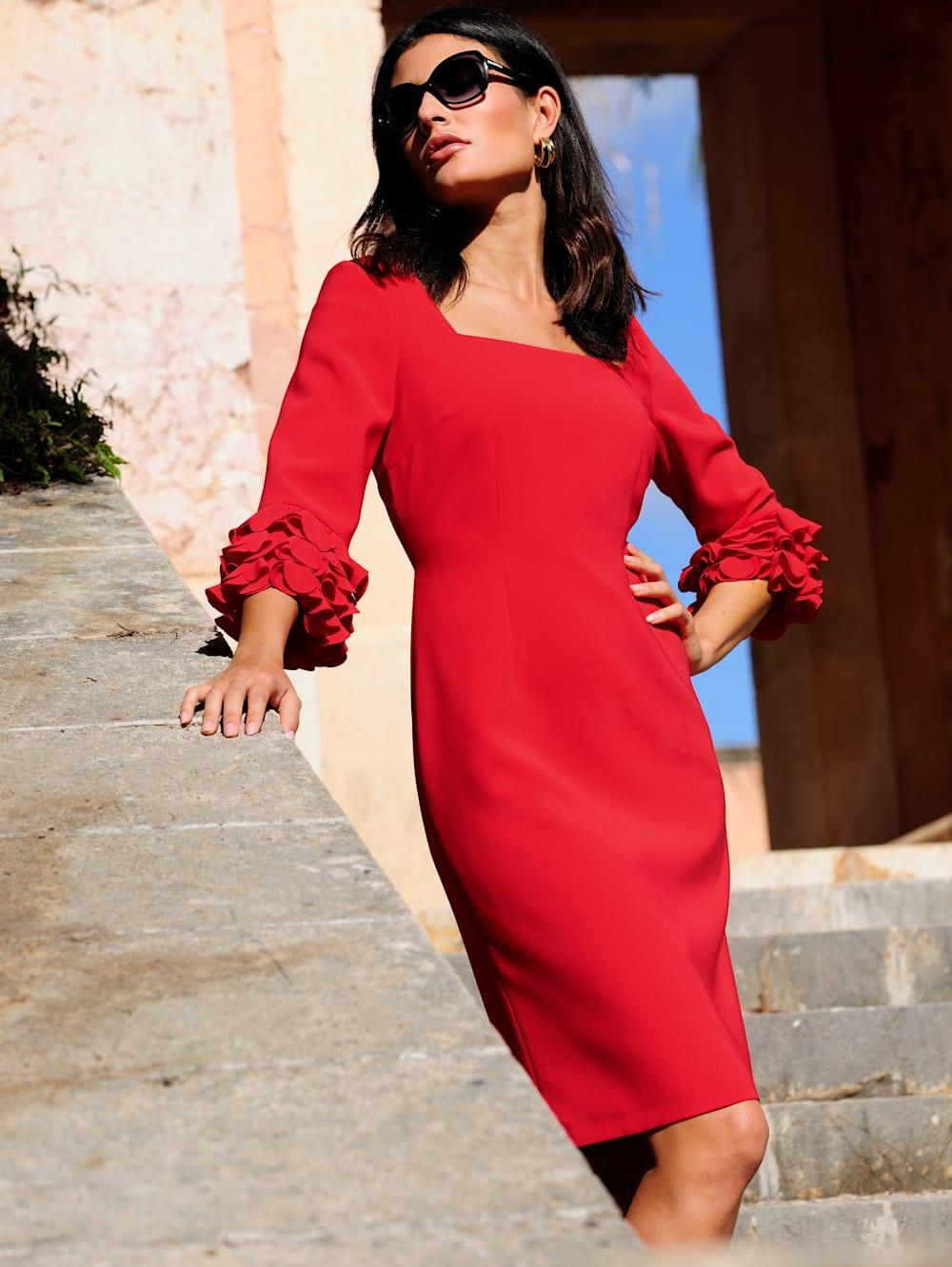 alba moda kleid mit eleganten details an den Ärmeln   wenz