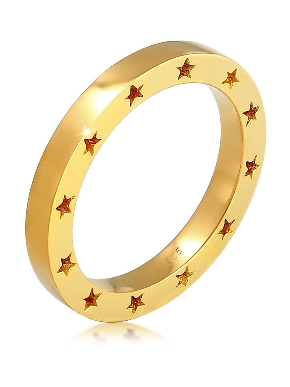 Elli Elli Ring Bandring Stern Side Cut Out 925 Silber vergoldet | Klingel