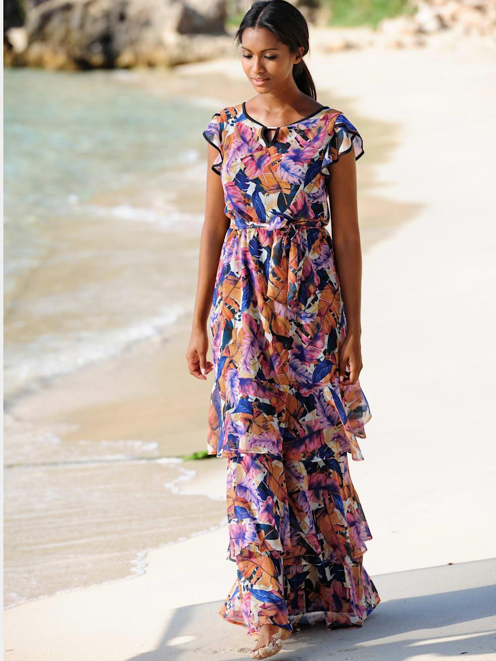 alba moda strandkleid mit volants | alba moda