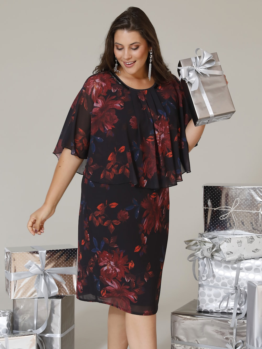 miamoda kleid mit elegantem blumendruck | klingel
