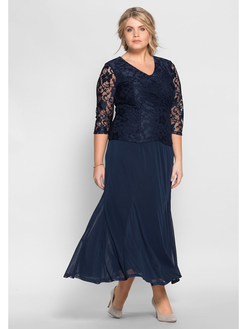 Sheego Sheego Abendkleid mit floraler Spitze  Klingel