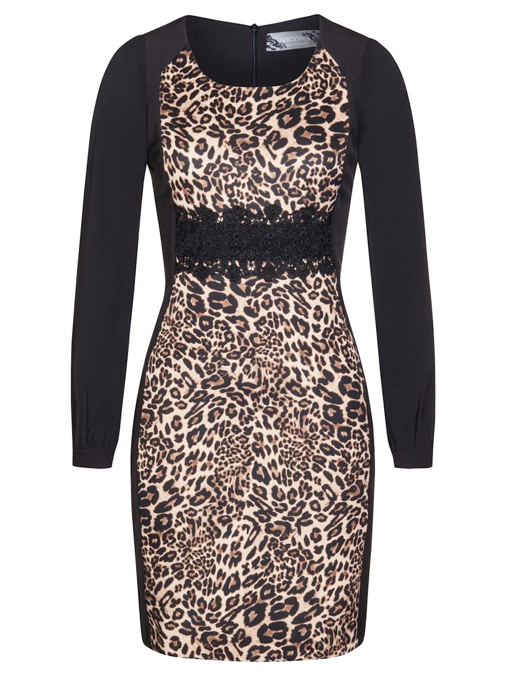 Nicowa Edles Kleid MAJA mit extravagantem Leopardenmuster  Klingel