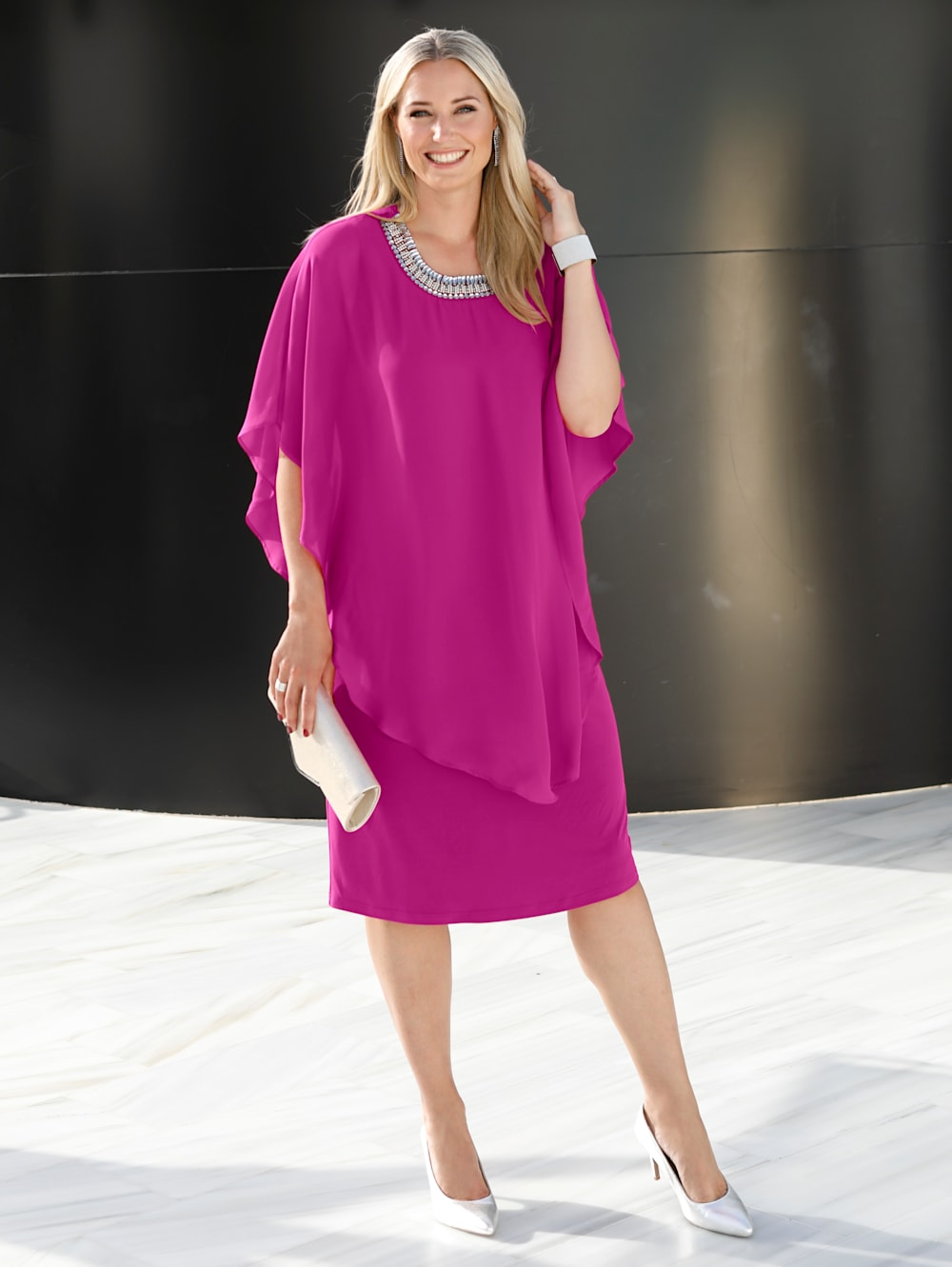 MIAMODA Kleid mit Chiffon Überzug  Mia Moda