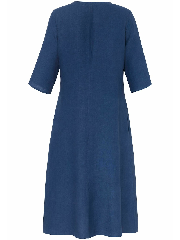 anna aura abendkleid kleid mit 3/4-arm aus 100% leinen   happy size