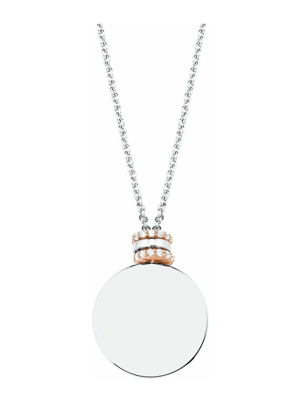 s.Oliver Ketten mit Anhänger für Damen, Gravurplatte, 925 Sterling Silber teilvergoldet | Klingel