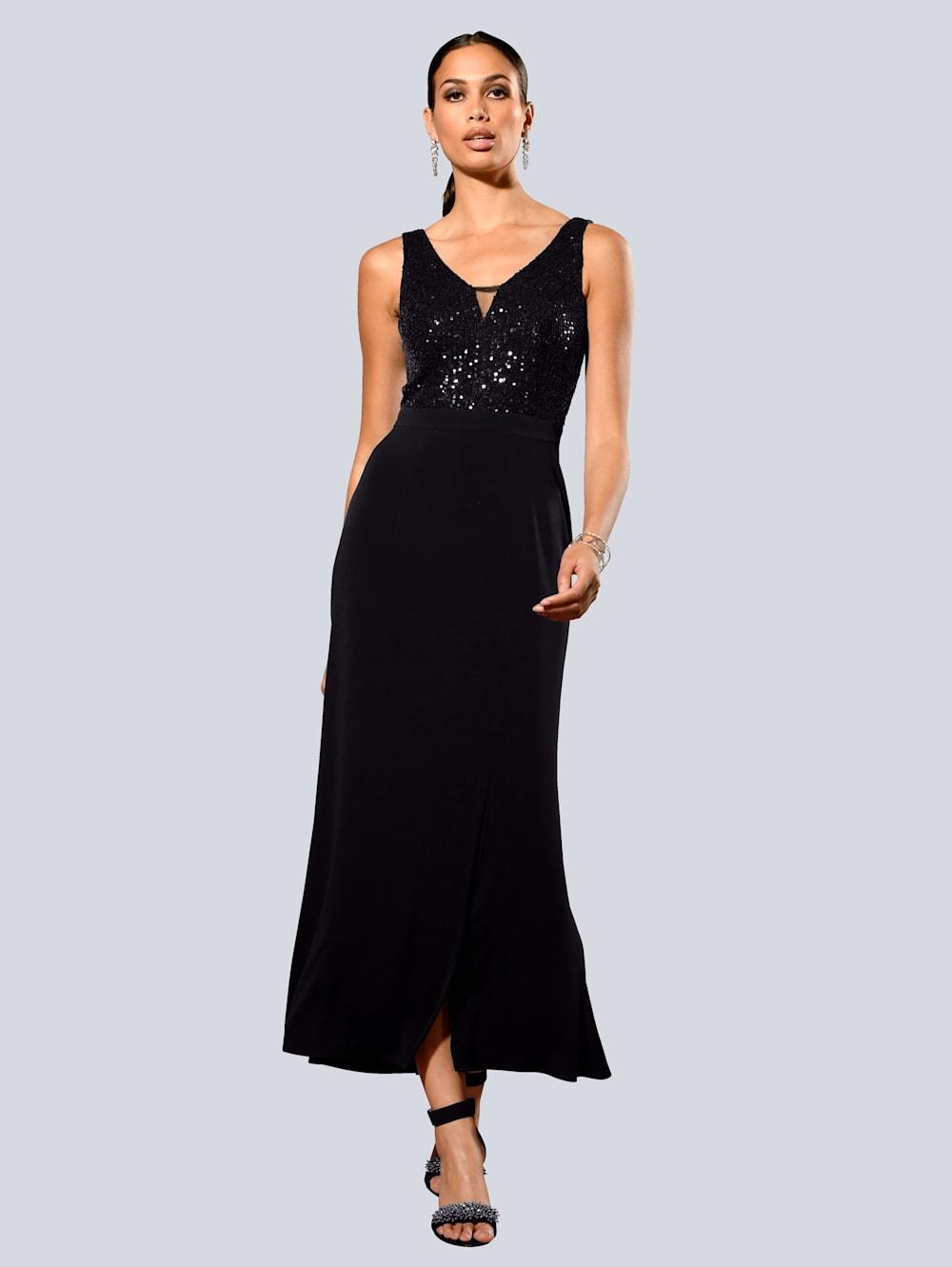 Alba Moda Kleid mit edlen Pailletten am Oberteil  Klingel