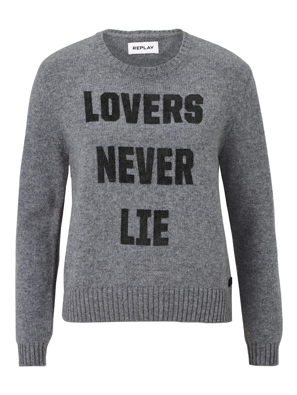 Sweatshirt mit Rundhalsausschnitt und REPLAY Schriftzug