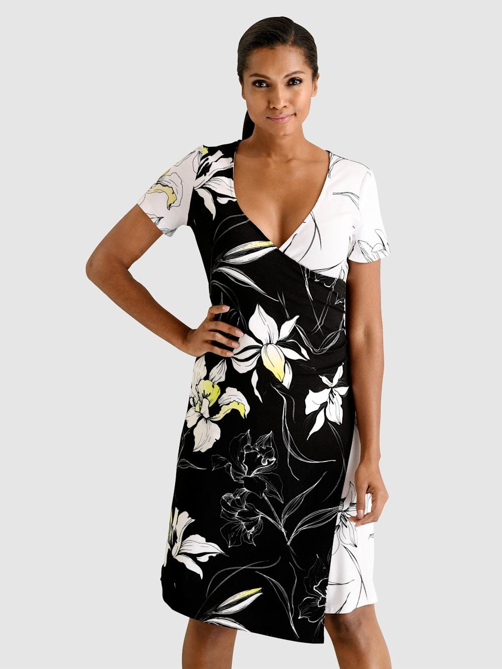 alba moda kleid in femininer wickeloptik | klingel