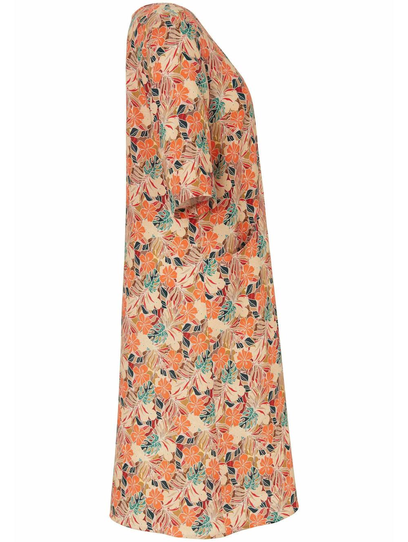 anna aura abendkleid kleid mit 3/4-arm in a-form aus 100% leinen | happy  size