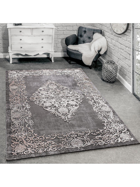 Paco Home Designer Teppich Modern Wohnzimmer Teppiche 3d Barock Muster In Grau Beige Creme Klingel