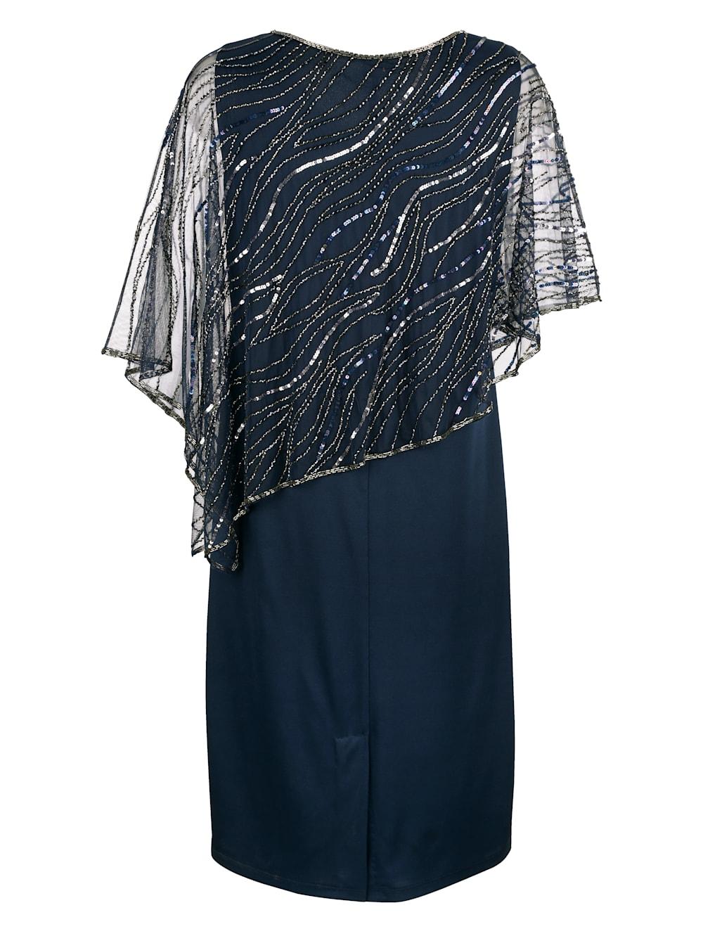 MONA Kleid mit bestickten Überwurf  MONA