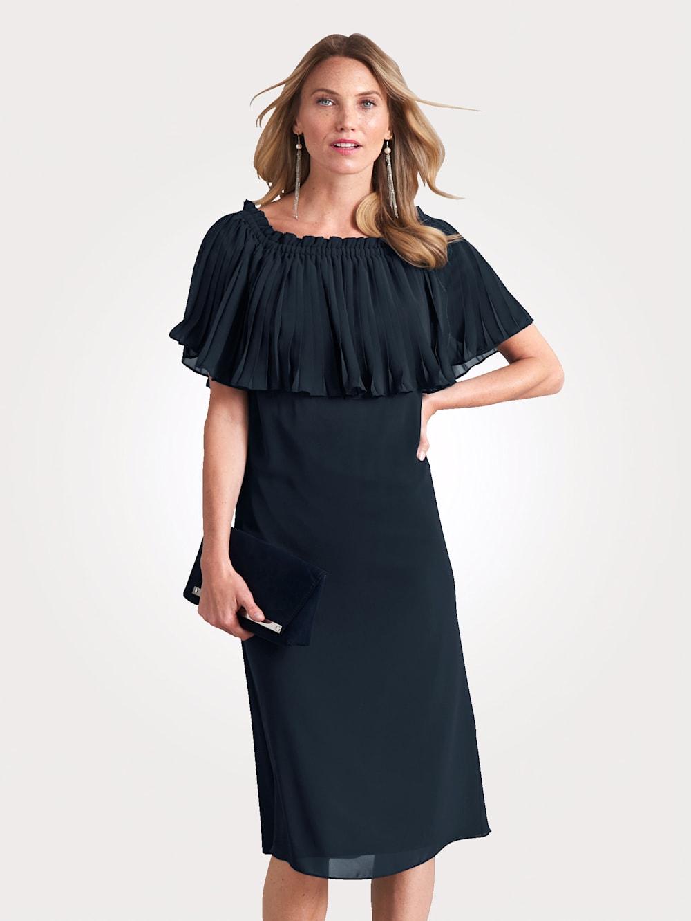MONA Kleid mit Plissee-Überwurf  Klingel